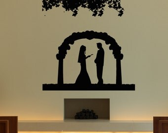 Wall Vinyl Sticker Decals Mural Room Design Decor Art Wedding Marriage Bride Groom Love Arch Flowers bo2551