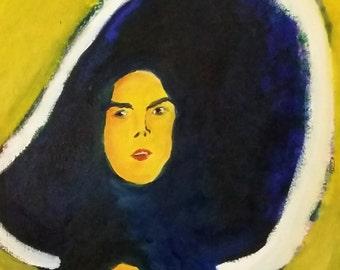 """Original Expressionist Portrait Oil Original Painting 16""""x20"""" on Canvas by Simon Bramble, Fine Art Oil Portrait Painting Impressionism Oil"""
