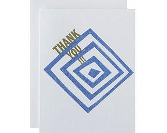 "Letterpress Thank You Card, ""Thank You"", Modern, Geometric, Gold Metallic Ink"