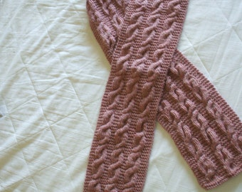 Rose-Colored Mixed-Cables Scarf