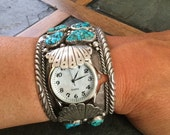 Beautiful Vintage Hand Crafted Native American Navajo Sterling Silver Genuine Turquoise Watch Cuff Bracelet.