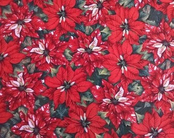 Red Christmas Fabric, Red and Green Cotton Fabric, Red Flowers, Red Poinsettia, Craft Cotton, Sewing, Quilting Cotton, By the Yard