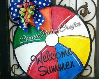 Beach Ball Burlap Door Hanger Decoration Summer Fun