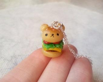 Kawaii bear burger pendant- hamburger clay charm, miniature food jewelry, bear keychain, food gift for friend