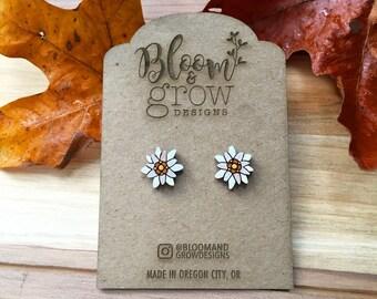 Wooden Earrings - Edelweiss Flower