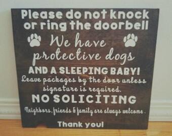Do not ring doorbell front door sign