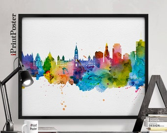 Ottawa art print, Ottawa poster, Ottawa skyline art, Ontario Canada, art print, travel decor, wall art, home decor, iPrintPoster