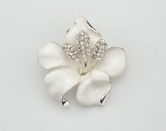 White Flower Brooch Rhinestone Crystal Hibiscus Crystal Rhinestone Flower Brooch Bridal Jewelry