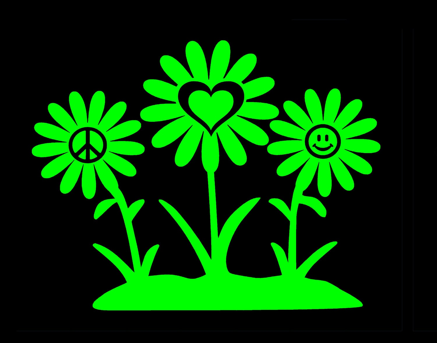Peace Love And Happiness Hippie Flowers Vinyl Decal By