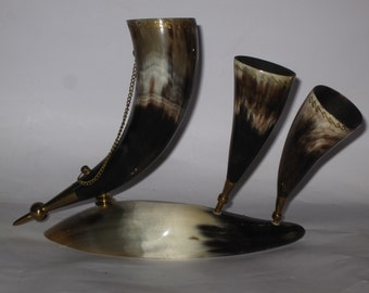 Vintage Wine Drinking Horns, Drinking Horns, Wine Horns, Wine Lover Gift, Viking Drinking Horns, Vintage Home Decor.