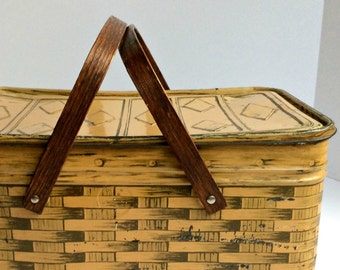 Vintage Metal Picnic Basket with Paper Lined Interior