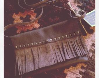 Fringe Cross-Body Leather Handbag