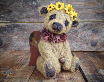 Angelie, handmade teddy bear, teddy bear, Teddy bear artist, collectibles, gift idea, mohair, home décor, angelo, made to order