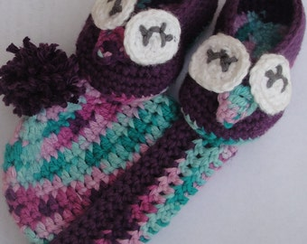 Purple Owl Baby Booties and Beanie