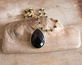 Black Gold Rosary Necklace, Long Black Gold Necklace, Black Onyx Tear Drop Pendant, Black Stone Long Necklace, Black Spinel Jewellery