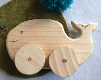 Whale wooden push toy