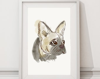 French Bulldog Sketch Drawing Poster A3 / A2 Watercolor Print / Dog Wall Art