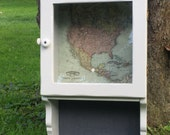 Map Themed Glass Door Wall Cabinet