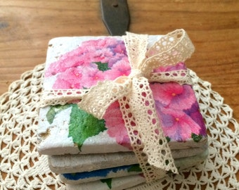 Decoupage tile coasters, hydrangeas, blue and pink ,housewarming,hostess gift,shabby chic coffee table decor, decorated tiles, set of 4.