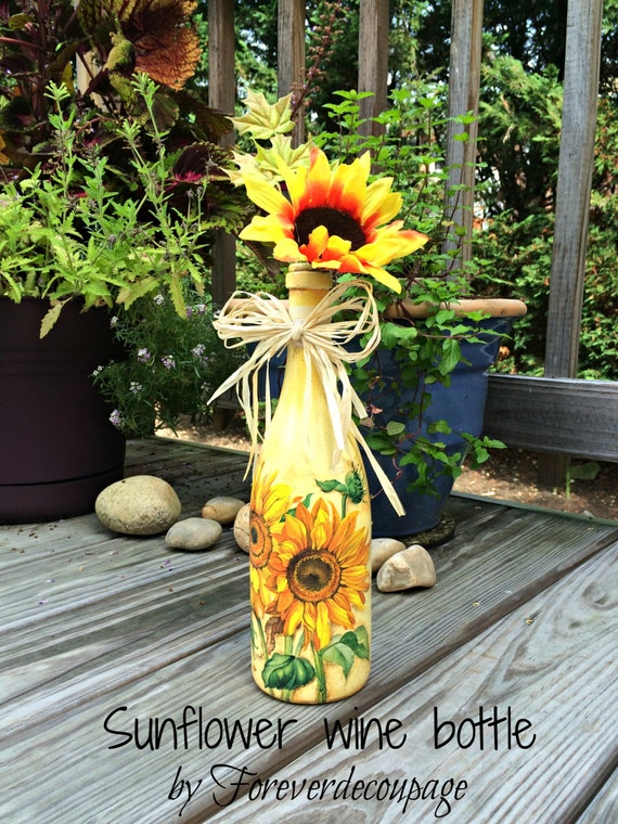 Decorated wine bottle sunflowers decoupage painted