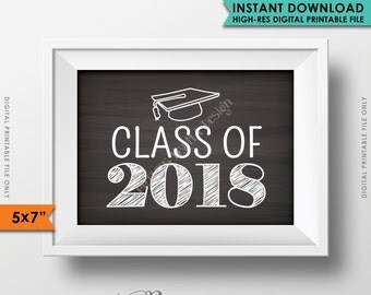 "Class of 2018 Sign, Grad Party High School 2018 Grad College Graduation Sign Chalkboard Sign, 5x7"" Instant Download Digital Printable File"