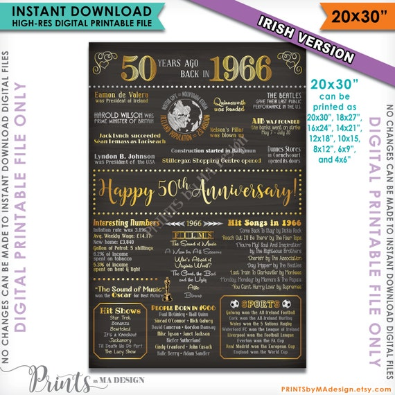 "Anniversary Gift 1966 IRISH Poster, 20x30"" Instant Download Digital ...: https://www.etsy.com/listing/464302415/50th-anniversary-gift-1966..."