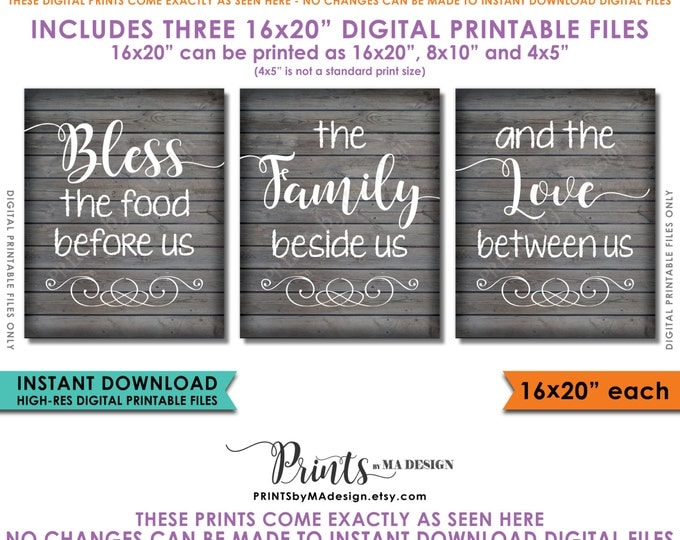"Bless the Food Before Us The Family Beside Us the Love Between Us Kitchen Wall Decor 16x20"" Rustic Wood Style Instant Download Printables"