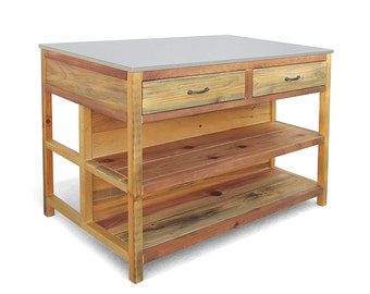 kitchen island table reclaimed wood counter table kitchen table handmade - Kitchen Counter Table