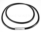 """Genuine Leather Cord Necklace Black Brown 3mm 14""""-26"""" Bayonet Clasp Surfer Choker Unisex"""