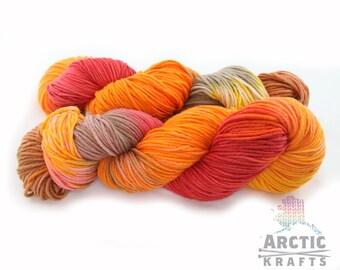 Autumn leaves, hand dyed 100% superwash merino wool, worsted weight yarn. 220 yards