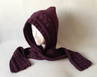 Alpaca Hooded Scarf - Hand-knit