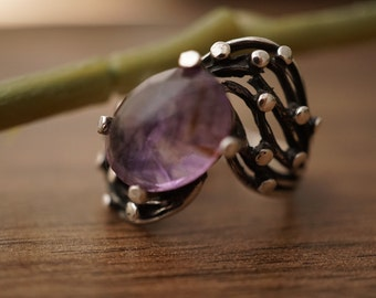 Sterling silver oval amethyst ring Fedex Free Shipping
