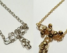 Silver or Gold Safety Pin Skull Pendant with Necklace!