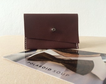 Brown Hand stitched Simple Leather Wallet, Business Credit Card Holder, Minimalist Wallet