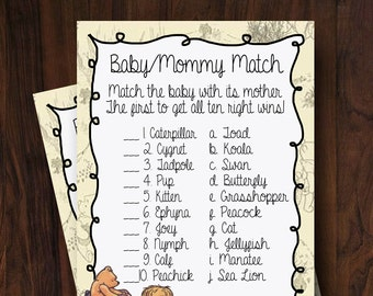 Baby Shower Game Winnie the Pooh ~ Baby/Mommy Match ~ INSTANT DOWNLOAD