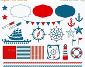 80% OFF Nautical Set, Clip Art, Illustrations, Decorations, Emblems, Digital Paper, Old Map, Lighthouse, Anchors, Ship, Save Belt, Commercia