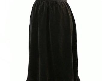 Vintage XS S Black Velvet Midi Maxi Skirt High Waist Country Suburban BOHO GOTH Zipper Western Ruffle Tier Ankle