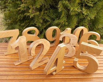 """1-30 5"""" Wooden table numbers, Wedding table decoration, Wedding reception decor, Party, Table Numbers, Anniversary, Free standing numbers"""