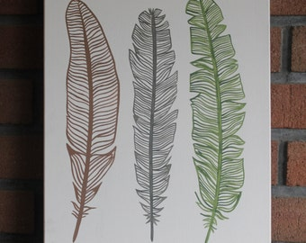 Handpainted feathers on canvas
