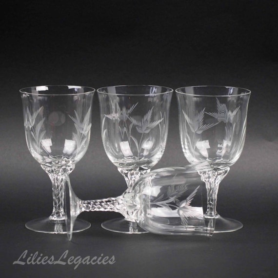 Items Similar To Crystal Wine Glasses Or 4 Water Goblets