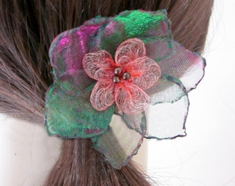 Green and Purple Hair Flower Pin, Fluorescent Organza Hair Pin, Green Hair Flower, Pink Hair Flower, Purple Hair Flower, The Velvet Begonia