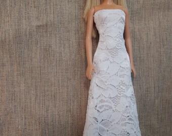 Wedding Dress/ White lace Dress/ Barbie Dress/ Barbie Accessory