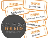 Printable Kids Coupons - Family Coupons  - Rewards for Kids - Reward Coupons  -  Instant Download - Print at home