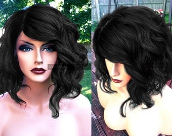 Human Hair BLEND Lace Front Bob Wig // Black Wavy Bob + Swiss Lace // Curly Messy Cosplay Wig