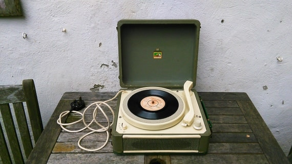 Vintage 1952 Portable HMV Mono Record Player Restoration Spares or Repairs Stage/ Window Display Retro Vinyl Turntable Collectible Audio