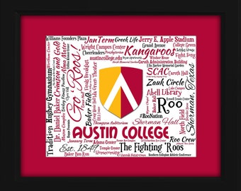 Austin College 16x20 Art Piece - Beautifully matted and framed behind glass