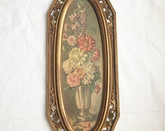 ON SALE Vintage floral picture/long vintage mixed floral wall decor/gold framed floral wall decor