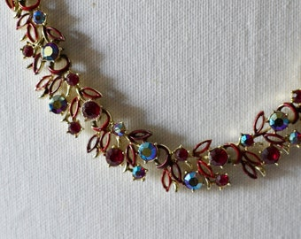 1950s Vintage Necklace Diamante Red  with Enamal and Silver Chain