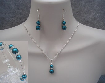 Helena ~ Teal Pearl Jewelry Set of Necklace Bracelet and Earrings with a Silver or Gold Plated Finish
