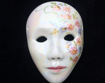 """Vintage Italian (Venetian) Wall Hanging Ceramic Decorative Display Mask 4.5"""". Excellent Sourced in Italy."""